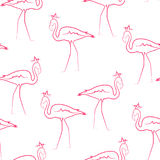 Pássaros cor-de-rosa do flamingo que vestem o teste padrão sem emenda da coroa Fotos de Stock