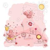 Pássaros cor-de-rosa no dia ensolarado Imagem de Stock