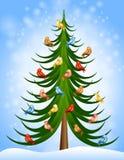 Pássaros da árvore de Natal Imagens de Stock
