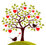 Pássaros da árvore e do amor do coração Fotos de Stock Royalty Free
