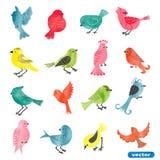 Pássaros da aquarela ajustados ilustração royalty free