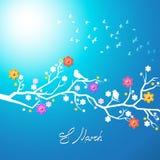 Pássaros da mola que cantam em um ramo de florescência Imagens de Stock