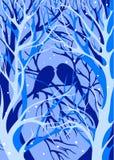 Pássaros da silhueta de árvores do inverno Fotografia de Stock Royalty Free