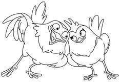 Pássaros de amor esboçados imagens de stock royalty free