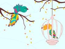Pássaros de grito em uma gaiola. ilustração. Foto de Stock