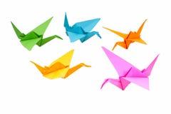 Pássaros de Origami e papel do origami Foto de Stock