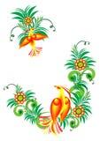 Pássaros de paraíso abstratos em filiais florais Imagem de Stock Royalty Free