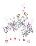 Pássaros do amor e um ornamento floral bonito Fotografia de Stock