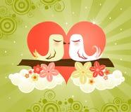 Pássaros do amor no coração Imagem de Stock