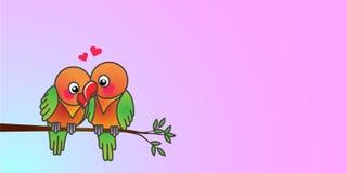 Pássaros do amor no amor no fundo da cor pastel fotos de stock