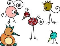 Pássaros dos desenhos animados Fotos de Stock Royalty Free