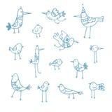 Pássaros dos desenhos animados ajustados Fotos de Stock