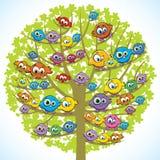 Pássaros e árvore engraçados Fotos de Stock Royalty Free