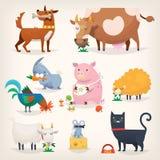 Pássaros e animais da exploração agrícola Imagem de Stock Royalty Free