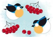Pássaros e bagas da cinza de montanha Ilustração do Vetor