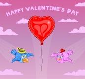 Pássaros e balão com céu cor-de-rosa ilustração stock