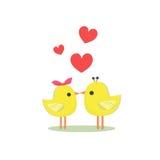 Pássaros e coração Fotos de Stock Royalty Free