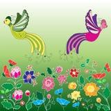 Pássaros e flores Foto de Stock Royalty Free