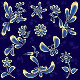 Pássaros e flores ajustados (vetor, CMYK) Ilustração Stock