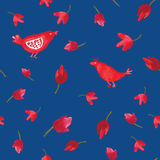 Pássaros e flores vermelhos da aquarela no teste padrão sem emenda do fundo azul Imagens de Stock Royalty Free