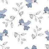 Pássaros e galhos feericamente pequenos em um fundo branco Fotografia de Stock Royalty Free