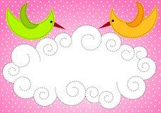 Pássaros e nuvem do convite da festa do bebê ilustração royalty free