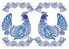 Pássaros e ornamento abstratos do gzhel Fotografia de Stock