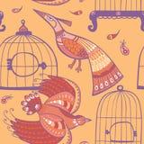 Pássaros e teste padrão sem emenda das gaiolas ilustração stock