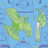 Pássaros e teste padrão sem emenda das gaiolas ilustração royalty free