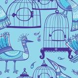 Pássaros e teste padrão sem emenda das gaiolas ilustração do vetor