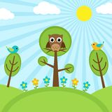 Pássaros em árvores ilustração royalty free