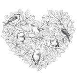 Pássaros em ramos ilustração do vetor