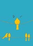 Pássaros em um fio Imagens de Stock Royalty Free