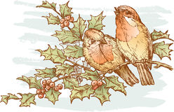 Pássaros em um ramo Fotografia de Stock