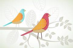 Pássaros em um ramo Fotografia de Stock Royalty Free