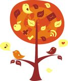 Pássaros em uma árvore com ícones de uma comunicação Imagem de Stock Royalty Free