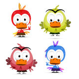 Pássaros engraçados ajustados ilustração stock
