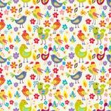 Pássaros engraçados sem emenda dos desenhos animados Fotos de Stock Royalty Free