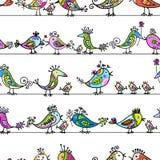 Pássaros engraçados, teste padrão sem emenda para seu projeto Fotos de Stock Royalty Free