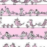 Pássaros engraçados, teste padrão sem emenda para seu projeto Fotografia de Stock Royalty Free