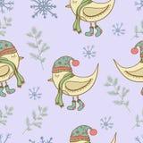Pássaros floco de neve e plantas do teste padrão do inverno Imagem de Stock Royalty Free