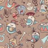 Pássaros, instrumentos musicais, notas Imagens de Stock Royalty Free