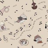 Pássaros, instrumentos musicais, notas, música Imagem de Stock Royalty Free