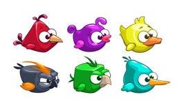 Pássaros loucos dos desenhos animados engraçados ajustados ilustração do vetor
