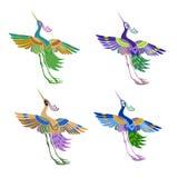 Pássaros mágicos do teste padrão abstrato étnico no Imagens de Stock Royalty Free