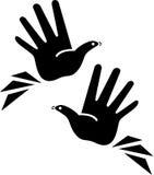Pássaros nas mãos Fotos de Stock Royalty Free