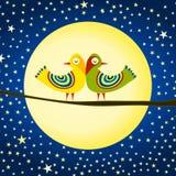 Pássaros no cartão do dia de Valentim da lua Imagens de Stock Royalty Free