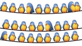 Pássaros no fio Imagens de Stock Royalty Free