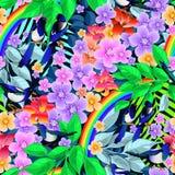 Pássaros no ramo com vetor sem emenda das flores no fundo preto Imagens de Stock Royalty Free