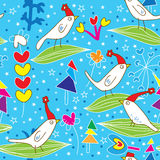 Pássaros Pattern_eps do Natal Fotografia de Stock Royalty Free